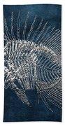 Surgeonfish Skeleton In Silver On Blue  Bath Towel