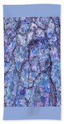 Surreal Patterned Bark In Blue Bath Towel