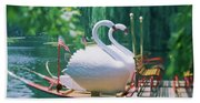 Swan Boats In A Lake, Boston Common Hand Towel
