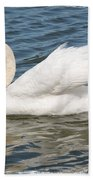 Swan On Blue Waves With Border Bath Towel