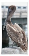 Sweet Brown Pelican - Digital Painting Bath Towel