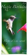 Sweet Hummingbird Birthday Card Bath Towel