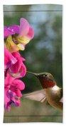 Sweet Pea Hummingbird II Bath Towel