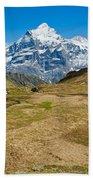 Swiss Alps - Schreckhorn And Valley Bath Towel