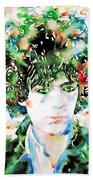 Syd Barrett Watercolor Portrait.1 Bath Towel