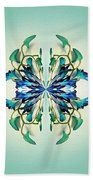 Symmetrical Orchid Art - Blues And Greens Bath Towel