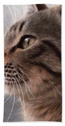 Tabby Cat Painting Bath Towel