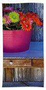 Table Top Flowers Bath Towel