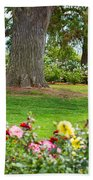 Take A Seat - Beautiful Rose Garden Of The Huntington Library. Bath Towel