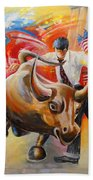 Taking On The Wall Street Bull Bath Towel