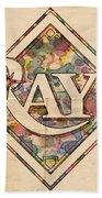 Tampa Bay Rays Vintage Art Bath Towel