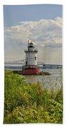 Tarrytown Lighthouse And The Tappan Zee Bridge Bath Towel