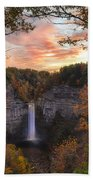 Taughannock Falls Autumn Sunset Bath Towel