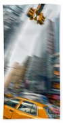 Taxi On Times Square Bath Towel