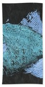 Gyotaku Triggerfish Bath Towel