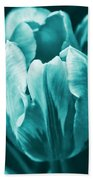 Teal Tulip Flowers Bath Towel
