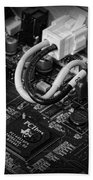 Technology - Motherboard In Black And White Bath Towel