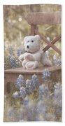 Teddy Bear And Texas Bluebonnets Bath Towel