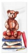Teddy On Books Bath Towel