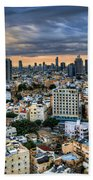 Tel Aviv Skyline Winter Time Bath Towel
