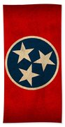 Tennessee State Flag Art On Worn Canvas Hand Towel by Design Turnpike