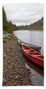 Tents And Canoes At Mcquesten River Yukon Canada Bath Towel