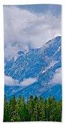 Teton Peaks Through Clouds In Grand Teton National Park-wyoming   Bath Towel