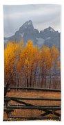 1m9354-teton Range In Autumn From Jackson Hole Ranch Country Bath Towel
