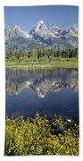 4m9310-teton Range Reflection, Blacktail Pond, Wy Bath Towel