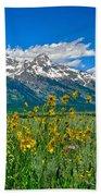 Tetons Peaks And Flowers Right Panel Bath Towel