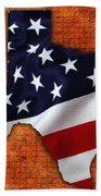 Texas American Flag Map Bath Towel