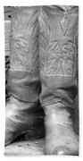 Texas Boots Portrait - Bw 03 Bath Towel