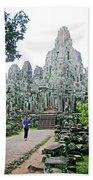 The Bayon In Angkor Thom In Angkor Wat Archeological Park-cambodia Bath Towel