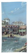 The Beginning Of Sea Swimming In The Old Port Of Biarritz  Hand Towel