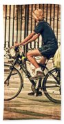 The Bicycle Rider - Leon Spain Bath Towel