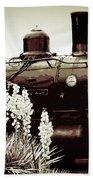 The Black Steam Engine Bath Towel