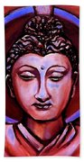 The Buddha In Red And Gold Bath Towel