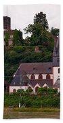 The Church And Heimburg In Niederheimsbach Am Rhein Bath Towel