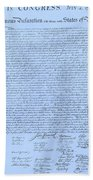 The Declaration Of Independence In Cyan Bath Towel
