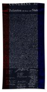 The Declaration Of Independence In Negative R W B Bath Towel