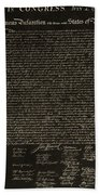 The Declaration Of Independence In Negative Sepia Bath Towel