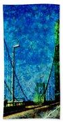 The Delaware Memorial Bridge Hand Towel by Angelina Vick