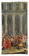 The Departure Of Alois Thomas Von Harrach, Viceroy Of Naples 1669-1742 From The Palazzo Reale Di Bath Towel