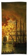 The Destruction Of The Turkish Fleet At The Bay Of Chesma Hand Towel