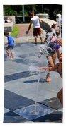 Joyful Young Girl Playing In Fountain Bath Towel