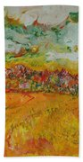 The Farmland Oil On Canvas Bath Towel