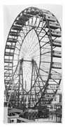 The Ferris Wheel At The Worlds Columbian Exposition Of 1893 In Chicago Bw Photo Bath Towel