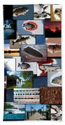 The Fishing Hole Collage Rectangle Bath Towel
