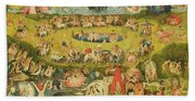 The Garden Of Earthly Delights Allegory Of Luxury, Central Panel Of Triptych, C.1500 Oil On Panel Bath Towel