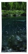 The Glimmer Of Maroon Lake Bath Towel